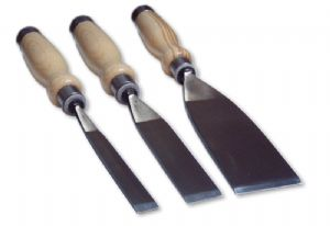 Flat - Wooden handled Chisels for Stone